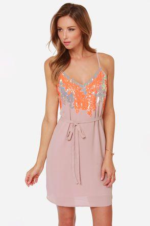 Fair Display Blush and Neon Orange Sequin Dress