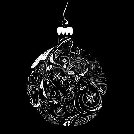 Vector Picture Of White Silhouette Of Christmas Ball On Black ...