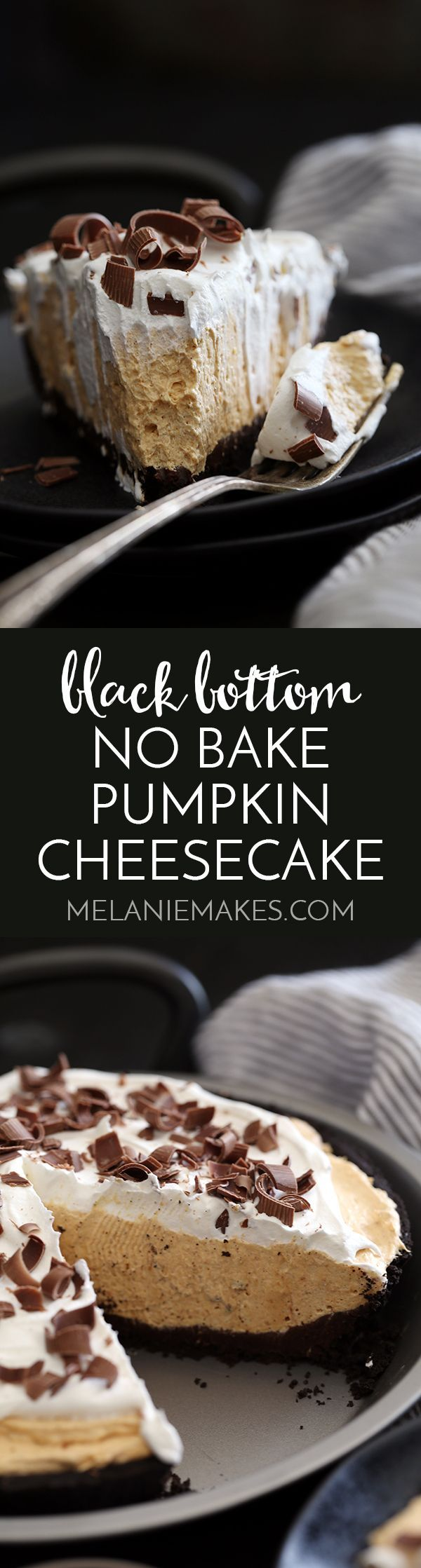 An Oreo crust is painted with a thick layer of chocolate ganache before being filled with a no bake pumpkin cheesecake filling spiked with cinnamon, nutmeg, cloves and ginger.  This Black Bottom No Bake Pumpkin Cheesecake is then topped with a cloud of whipped topping and showered with chocolate curls before being sliced and served to what will no doubt be an adoring crowd.