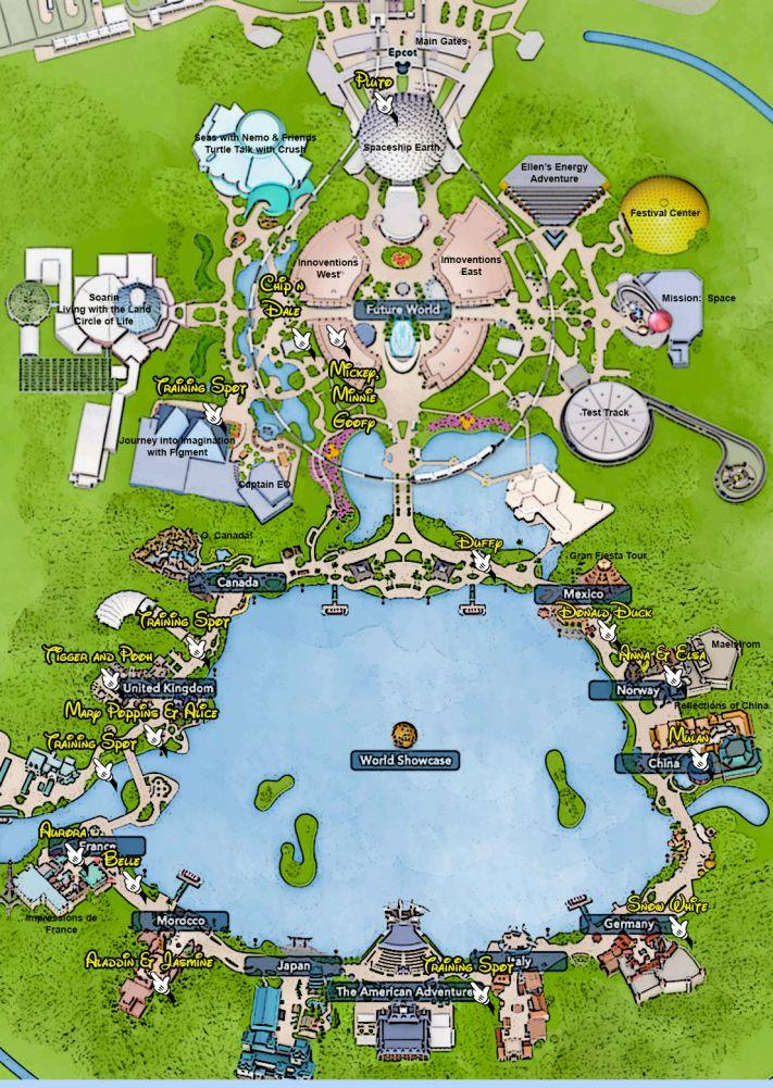 Walt Disney World, Epcot, Character Locations, map