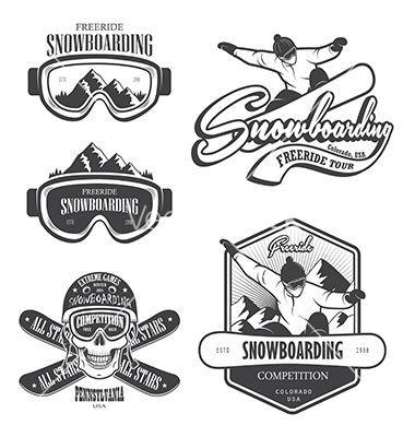 Snowboard logo and emblem vector by IvanMogilevchik on VectorStock®
