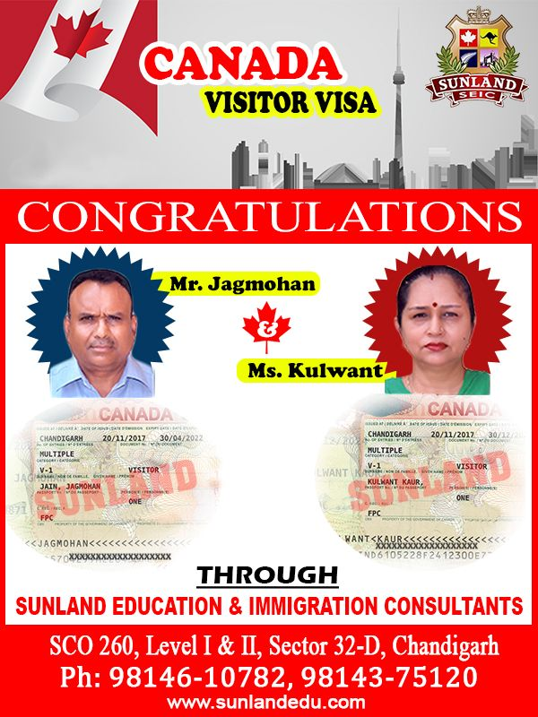 #Congratulations to Mr. #Jagmohan and his wife Ms. #Kulwant on receiving #Visitor #Visa for #Canada Through ##SUNLAND #EDUCATION & #IMMIGRATION #CONSULTANTS, #CHANDIGARH.  Contact us at:- SCO - 260, Sector 32-D, #Chandigarh http://sunlandedu.com/ +91 98146 10782 +91 98143 75120 +91- 98551 58431
