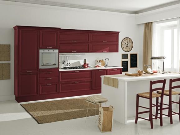 Cucina classica lineare l.360 cm con penisola centrare. Anta telaio rosso rubino con penisola ...