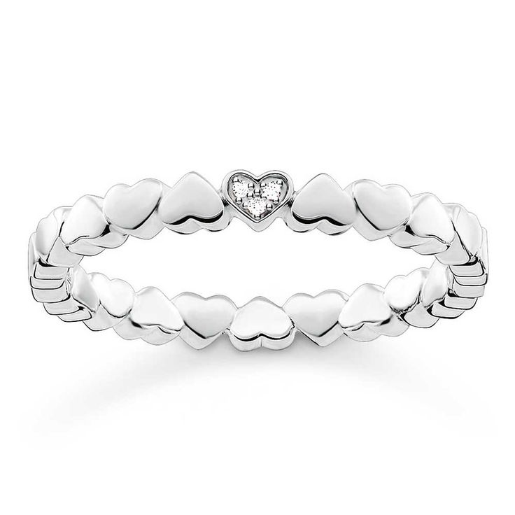 Thomas Sabo Silver Diamond Heart Band Ring D_TR0013-725-14