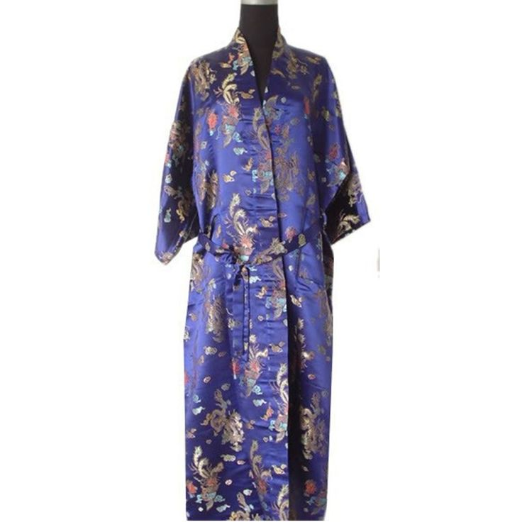 Promotion Navy Blue Male Satin Robe Sleepwear Chinese Style Bath Gown Traditional Kimono Free Shipping S M L XL XXL   ZR17
