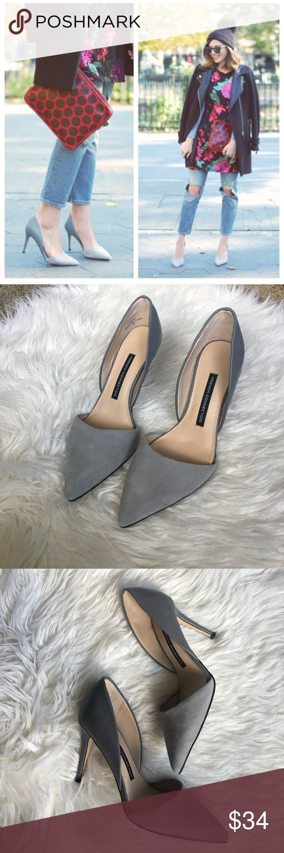 French Connection Elvia Grey D'orsay Pumps sz 7 Beautiful and sold out French Connection Elvia D'orsay Pumps in grey suede and leather size 37 (US 7)  Worn 3/4 times and in great condition! No trades please :) French Connection Shoes Heels