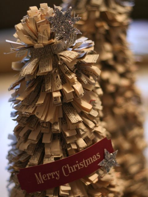1000 images about newspaper crafts on pinterest for Christmas tree made from old books
