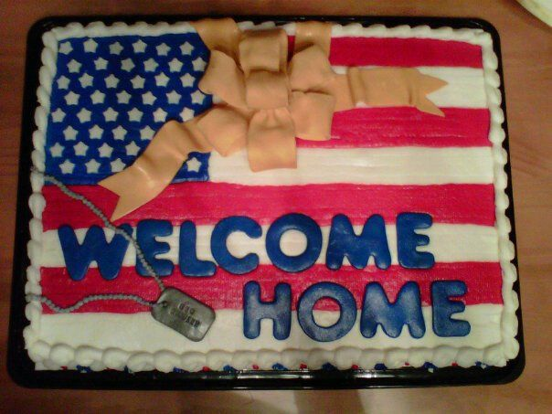 176 best images about cakes military on pinterest for Welcome home cake decorations