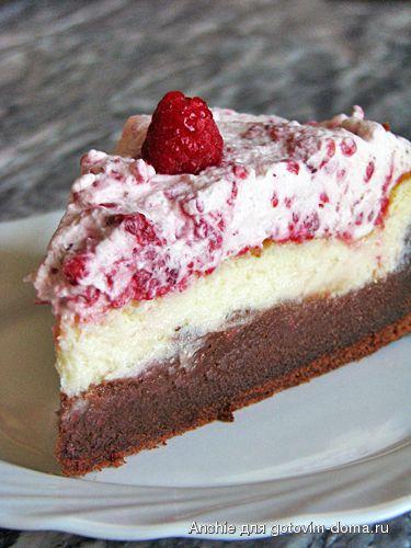 Шоколадно-сырный торт с малиновым кремом