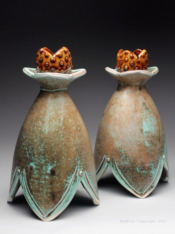 Emily Reason Pair of Candle Holders at MudFire Gallery
