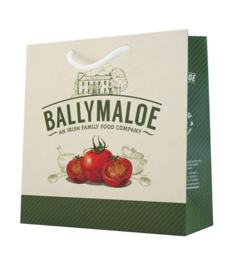 #ballymaloe #foodpackaging #carrierbags  Ballymaloe are a very well known Irish brand. Our designer came up with this relaxed, summer, eye catching design to fit perfectly with the brand personality.