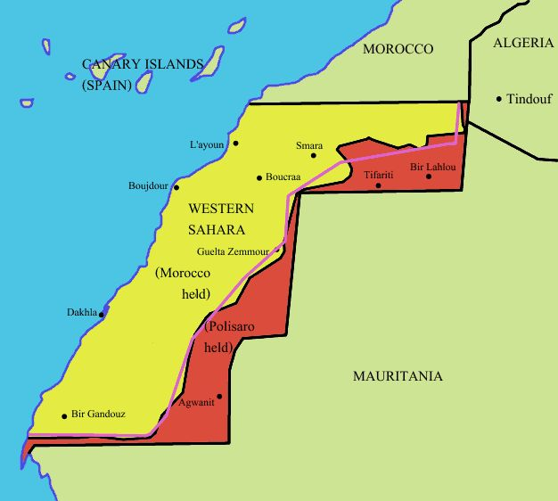 Image/Map - Areas controlled by Morocco as it's 'Southern Provinces', and those controlled by independence-seeking Sahrawi Arab Democratic Republic (SADR)