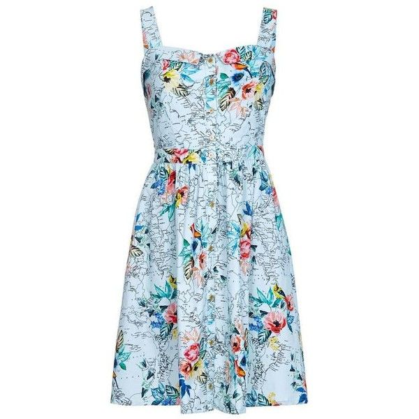 Tropical Flower Map Print Sun Dress ($71) ❤ liked on Polyvore featuring dresses, above the knee dress, day summer dresses, blue dress, over the knee dresses and blossom dress