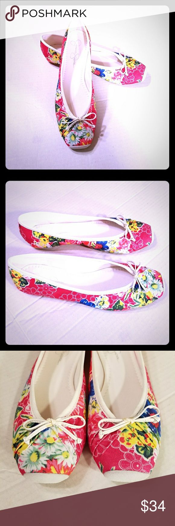 NEW Sz 6.5M Jessica Simpson floral ballet flats Jessica Simpson Leve Hawaiian Floral Canvas Pink Ballet Flats Square Toe 6.5M See pics for details  Retail $60 Jessica Simpson Shoes Flats & Loafers