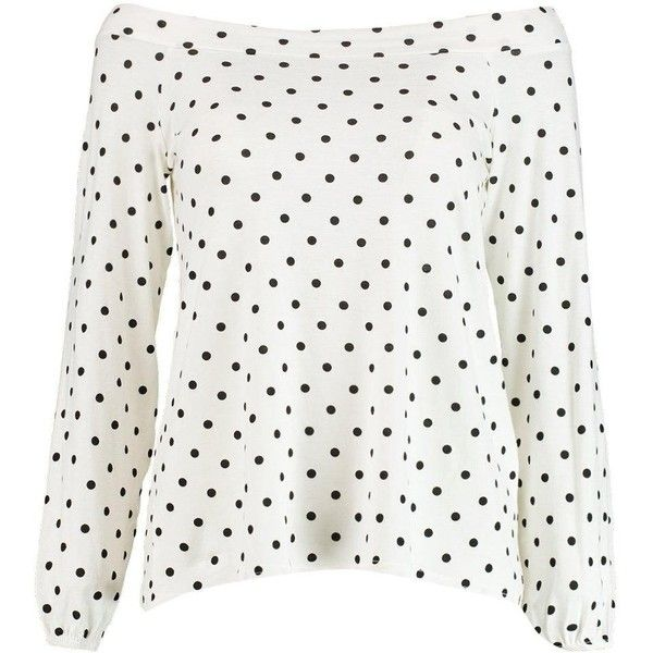Boohoo Dorothy Polka Dot Bardot Top | Boohoo (48 BRL) ❤ liked on Polyvore featuring tops, flat top, white polka dot top, polka dot top, white top and dot top