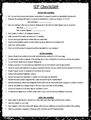 Teaching Special Thinkers: IEP Checklist FREEBIE