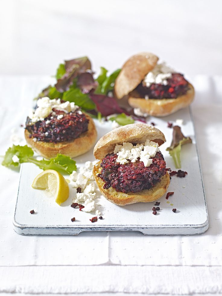 These vegetarian burger recipe is made with raw beetroot, puy lentils, chilli, garlic and ginger. It's ready in just 30 minutes.