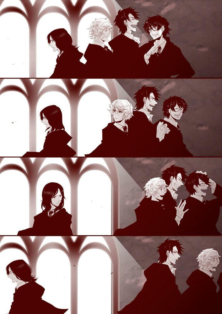 James Potter, Remus Lupin, Sirius Black, Severus Snape - http://static.zerochan.net