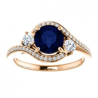 September Birthstone 14kt Rose Gold 6.5mm Round Sapphire And Diamonds Engagement Wedding Gemstone Ring....