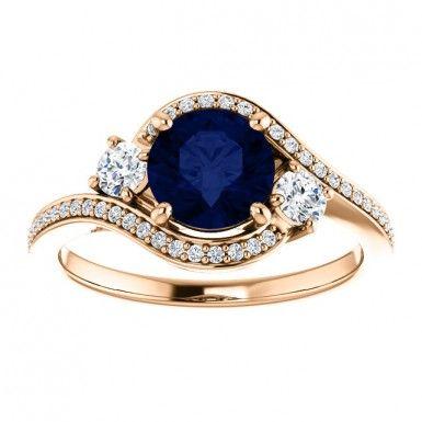 September Birthstone 14kt Rose Gold 6.5mm Round Sapphire And Diamonds Engagement Wedding Gemstone Ring....