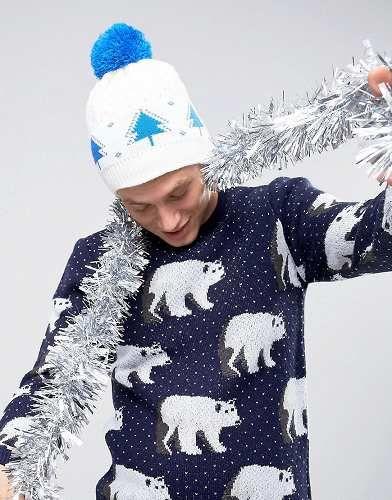 Prezzi e Sconti: #7x berretto natalizio con abeti bianco taglia Taglia unica  ad Euro 10.49 in #7x #Male occasioni accessori