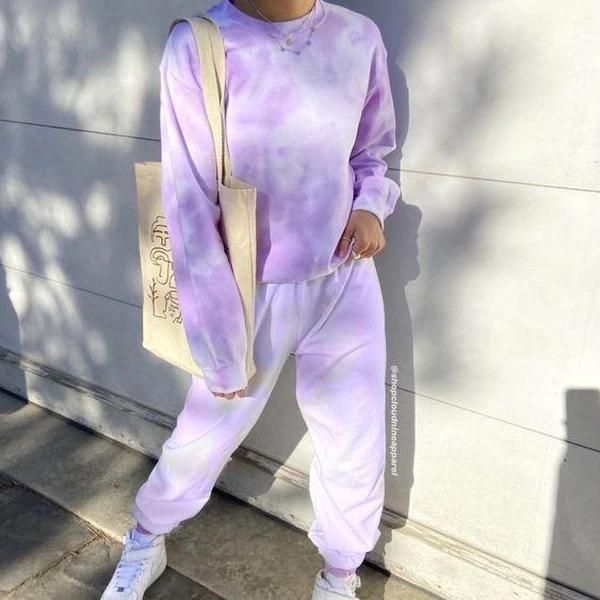 Viczy Fashion Tie Dye Long Sleeve Two Piece Set Tie Dye Outfits Aesthetic Clothes Tie Dye Fashion