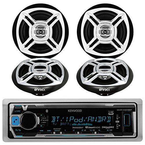 Kenwood KMRM315BT Bluetooth MP3 Marine Boat Yacht Bike AUX USB iPod iPhone Input Radio Player Stereo Receiver and 4 X Enrock 65 BlackChrome Marine Audio Speakers System ** For more information, visit image affiliate link Amazon.com