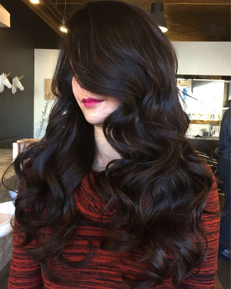Rich Dimensional Dark Chocolate Brown. Long layered haircut, big sultry curls…