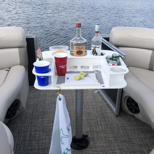 The Docktail Pontoon Boat Cup Holder Caddy Is Designed To Fit On Areas Of Exposed 1 1 4 Square Pontoon Rails Holds Up Boat Table Pontoon Boat Pedestal Table