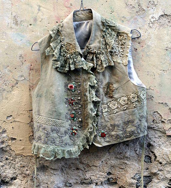 Dandi  romántico vintage chaleco de lino con encajes antiguos