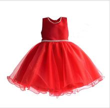 2016 Girls Christmas Dress European Style Princess Costume Red Girls Wedding Dress baby clothing girl 3-8y Clothes Wholesale(China (Mainland))