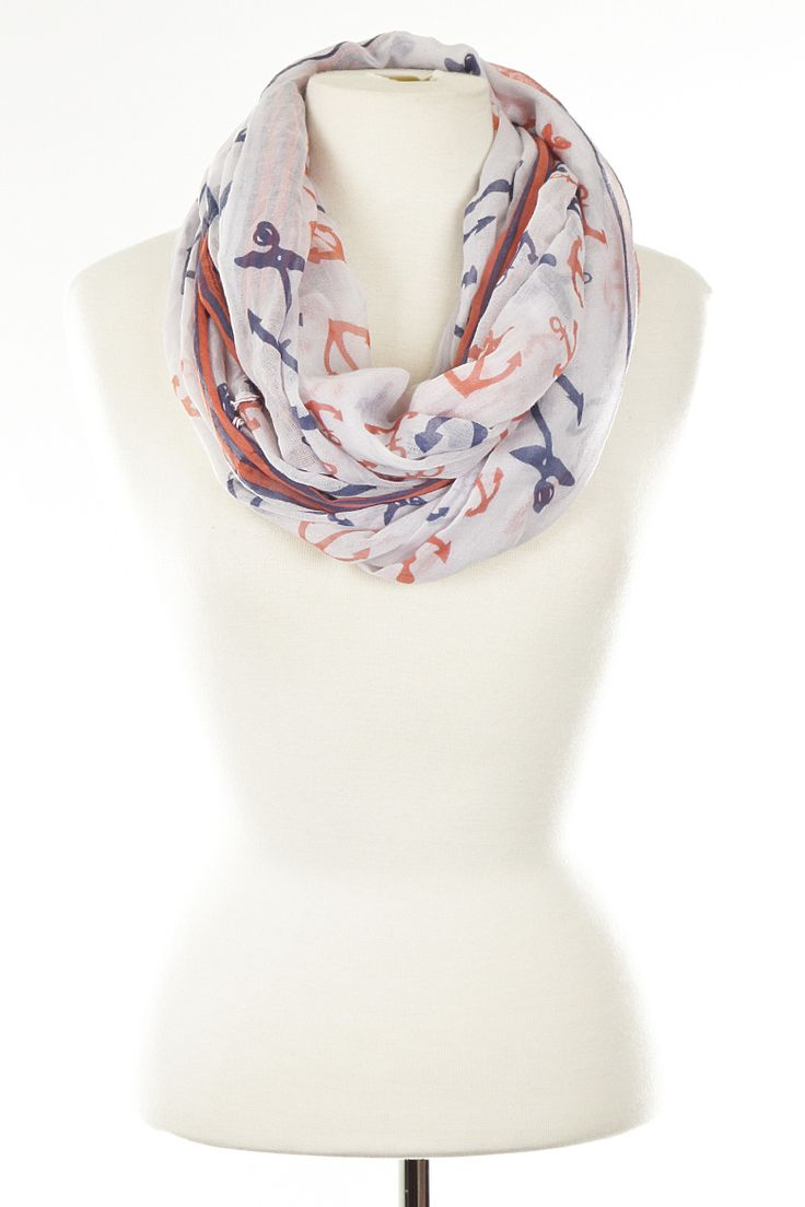 SB506 WHITE Anchor Printed Sheer Scarf 4DCI1 - Scarves