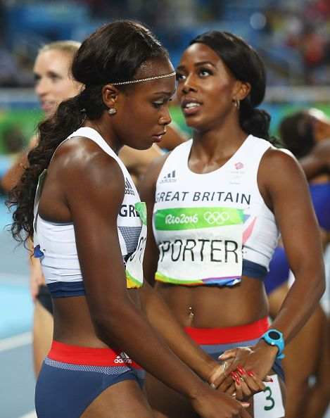 Tiffany Porter of Great Britain and Cindy Ofili of Great Britain react after the…