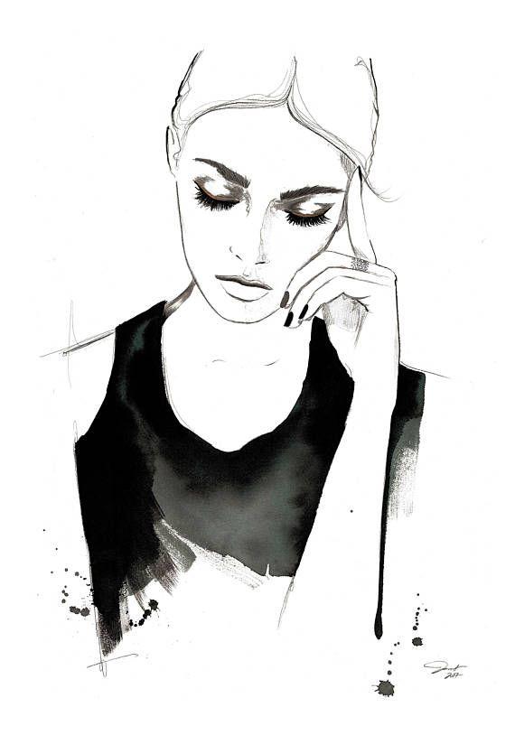 "Te laten gaan, originele 14 x 20"" aquarel mode illustratie door Jessica Durrant"