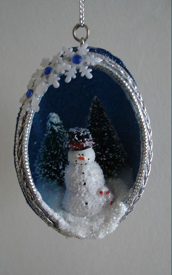 Christmas is just around the corner....will there be snow?    Here is a Real chicken egg, that I have HAND-cut with scissors. The eggshell itself is
