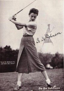"""This information comes from a delightful site. http://fuzzylizzie.com/golfclothing.html. She also write a great blog. In her words, """"Still, the most correct ensemble at a country club in the early 1960s was a knee length skirt topped with a blouse and a cashmere sweater, or for hot weather, a cotton golf dress which was often sleeveless.""""Women Golfer, Sports, Jordans Bakers, Vintage Golf Clothing Women, Dede Johnson, Country Club, Golf Dede, Golf Attire, Golf Fashion"""