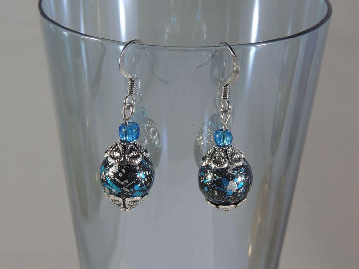 Aqua and Grey Beaded Earrings