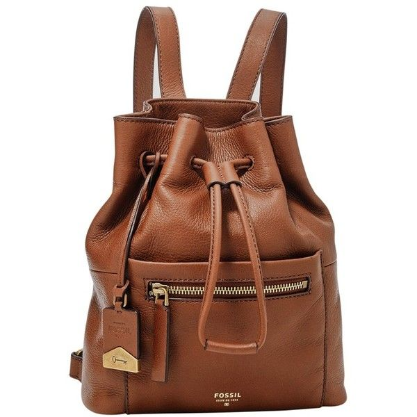 Fossil 'Vickery' Drawstring Leather Backpack (47.345 HUF) ❤ liked on Polyvore featuring bags, backpacks, brown, real leather backpack, leather drawstring bag, backpacks bags, fossil bags and fossil backpack