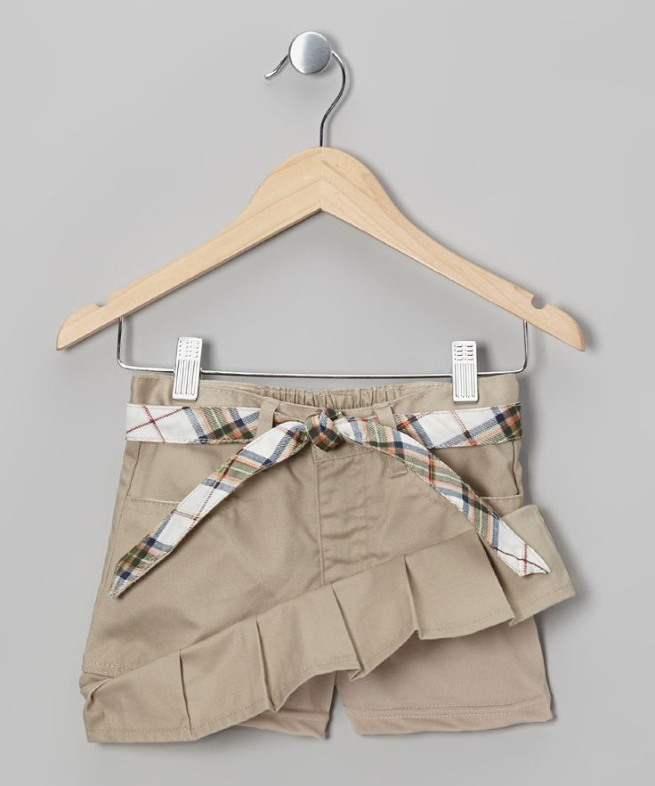 Khaki Plaid Belted Pleated Skirt - Girls | Daily deals for moms, babies and kids