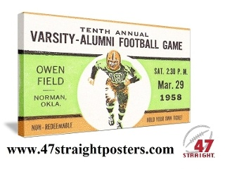 OU Sooners Father's Day gifts. Father's Day sports gifts. 1958 Oklahoma Football Art. #47straight  College football art, vintage football art, OU Sooners football art. Game room sports art.