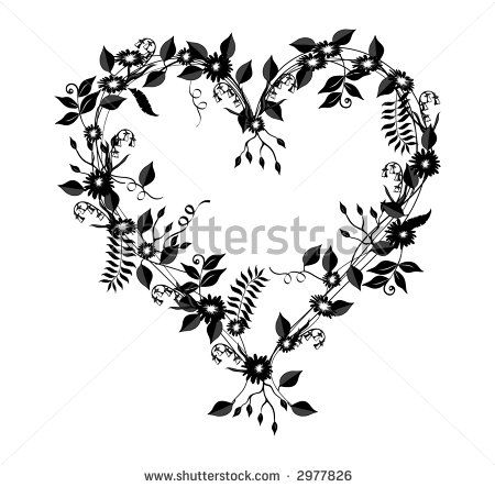 heart flower tattoo heart shaped illustration with flowers vines and leaves in black over. Black Bedroom Furniture Sets. Home Design Ideas