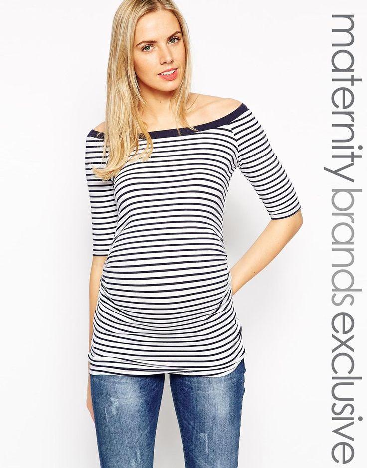 New Look Maternity - Top stile Bardot a righe con maniche a 1/2 14E