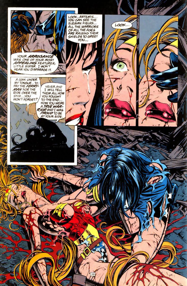 Death of Artemis in Wonder Woman #100 Page 38 (1995) - Mike Deodato Jr., Colors: Patricia Mulvihill