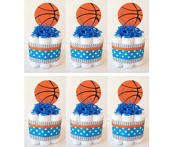 Set of 6 Mini Basketball Themed Diaper Cakes, Sports Diaper Cakes, Baby Shower Centerpieces, Baby Boy Gift, Blue orange grey chevron decor