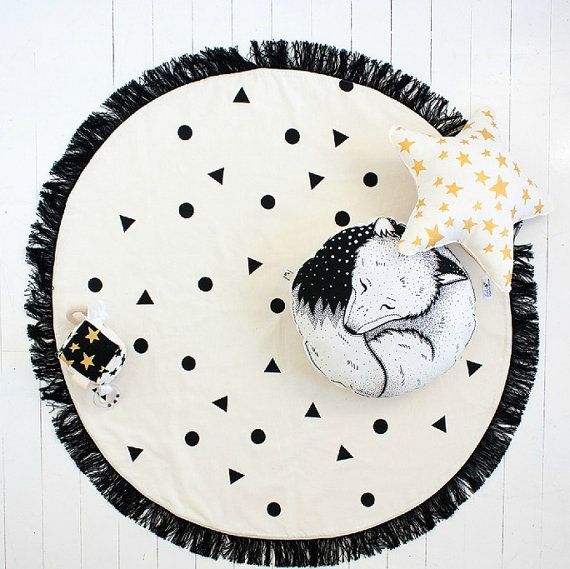 Black Confetti Round Play Mat / Nursery Rug / Decor / Hand Printed / Organic /  Made to Order