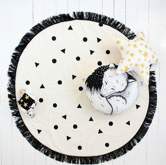 Black Confetti Round Play Mat / Nursery Rug / Decor by BabeeandMe