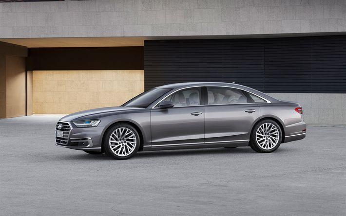 Herunterladen hintergrundbild audi a8, 2018, 4k, luxus-limousine, neuwagen, silber a8, deutsche autos, audi