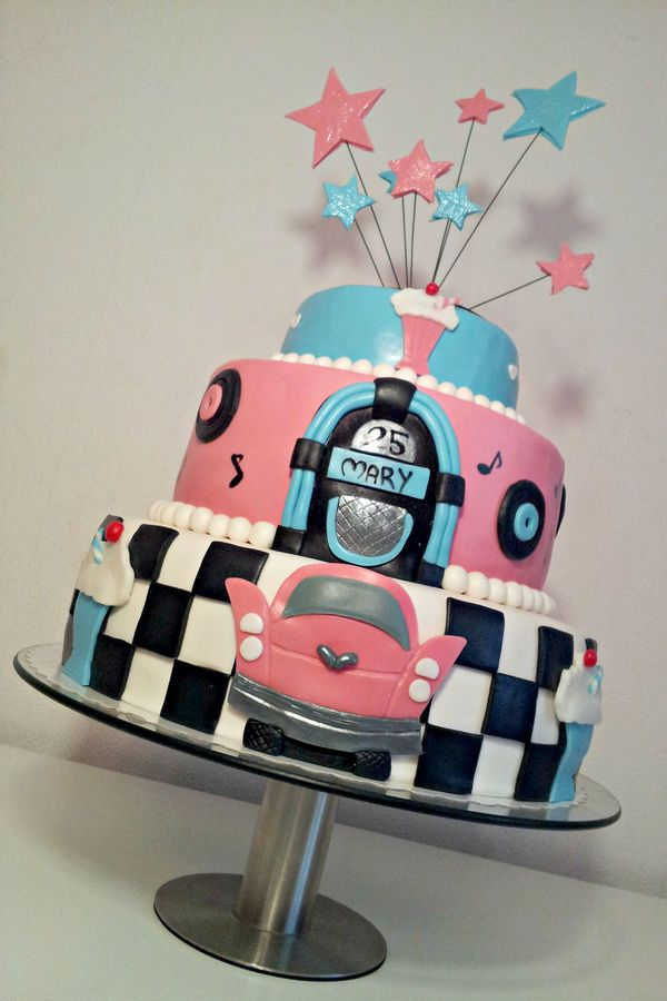 """Birthday cake for a 50's themed party. All decorations is made of fondant. First tier is filled with lemon cake, second with """"Milc..."""