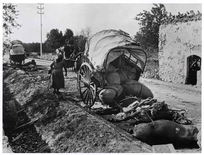 ROBERT CAPA | Carruaje y caballo muertos pertenecientes a personas de la ciudad amenazada de Tarragona que iban a buscar refugio en Barcelona, antes de que esa ciudad fuera evacuada