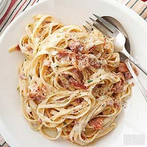 Prosciutto and bacon combined together in creamy cheese sauce, and topped over thick fettuccine noodles. This fettuccine dish is better than any restaurant's pasta carbonara! Have your own Italian night at home with the best carbonara recipe out there.